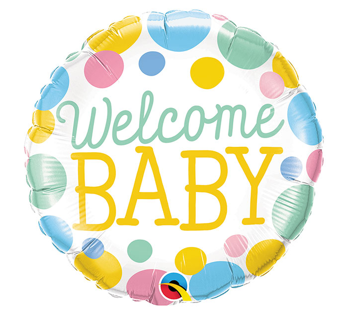 Balão Metálico Welcome Baby Dots