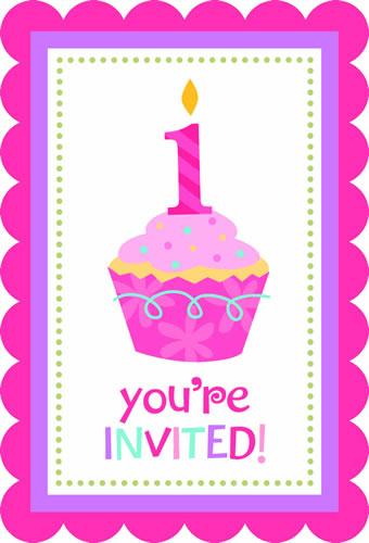 Convite Aniversário Doce Menina Aniversário De 1 Ano Menina